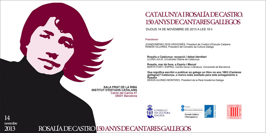 programa: CATALUNYA I ROSALÍA DE CASTRO. 150 ANYS DE CANTARES GALLEGOS