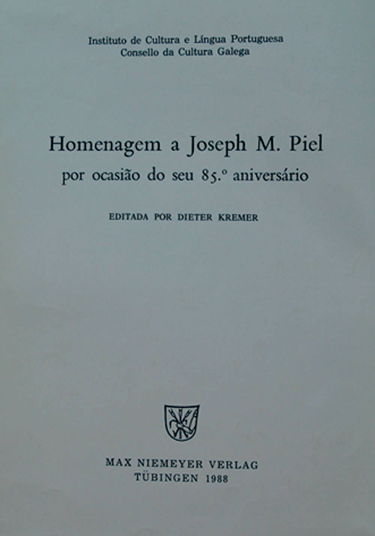 Portada de  Homenagem a Joseph M. Piel por ocasião do seu 85 aniversário