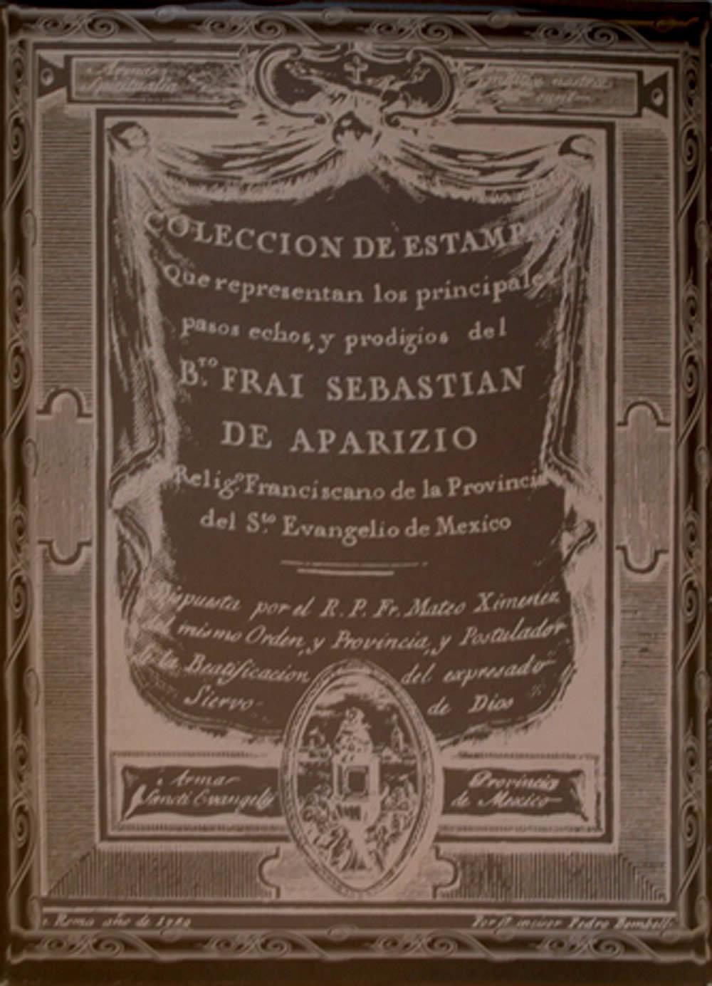 Portada de A vida do beato Aparicio nas estampas de Pietro Bombelli. 1789