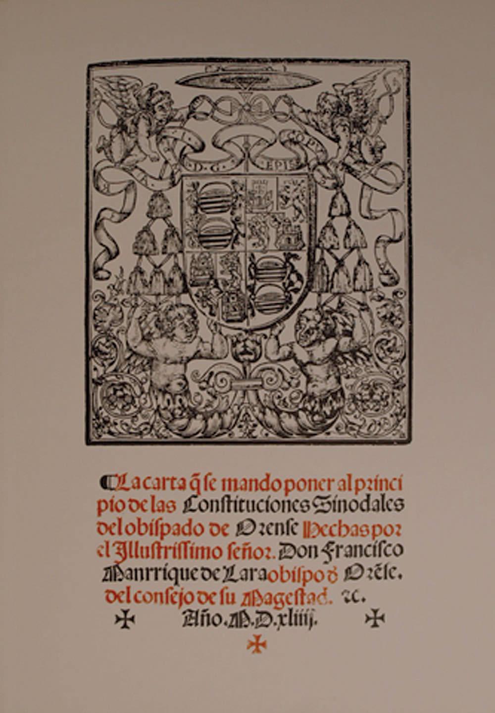 Portada de  Constituciones Sinodales del Obispado de Orense [Cartoné]