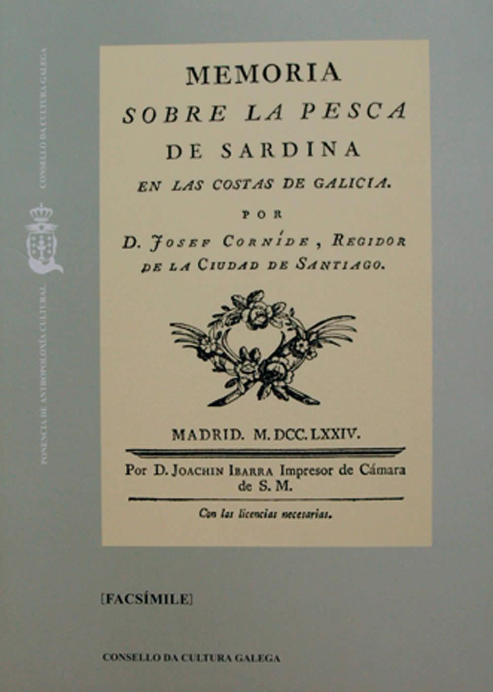 Portada de  Memoria sobre la pesca de la sardina en las costas de Galicia