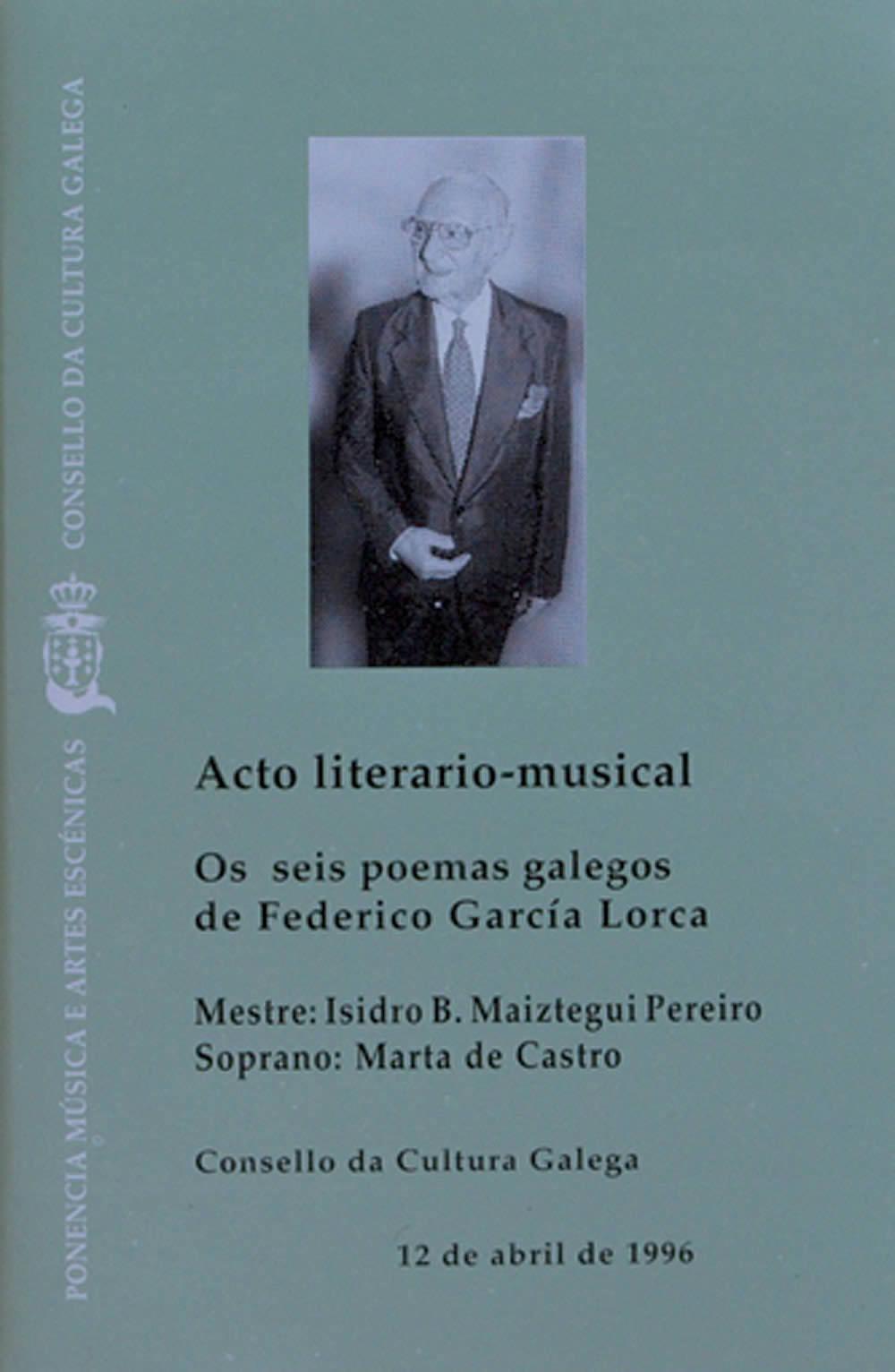 Portada de  Acto literario-musical. Os seis poemas galegos de Federico García Lorca