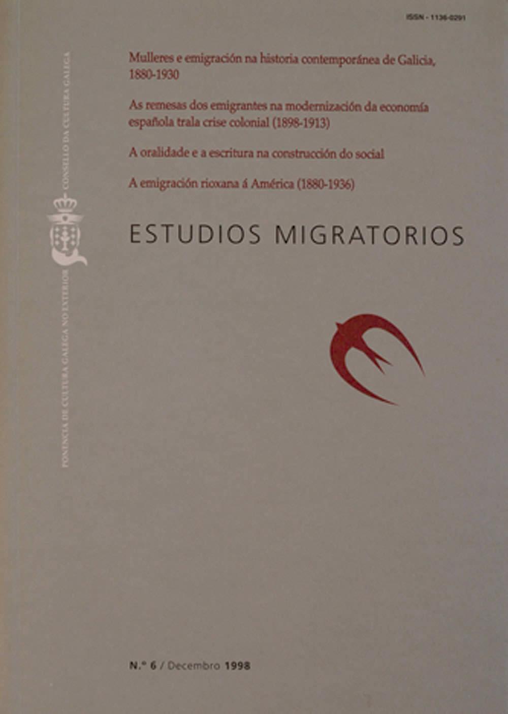 Portada de  Estudios Migratorios N.º 6 (decembro de 1998)