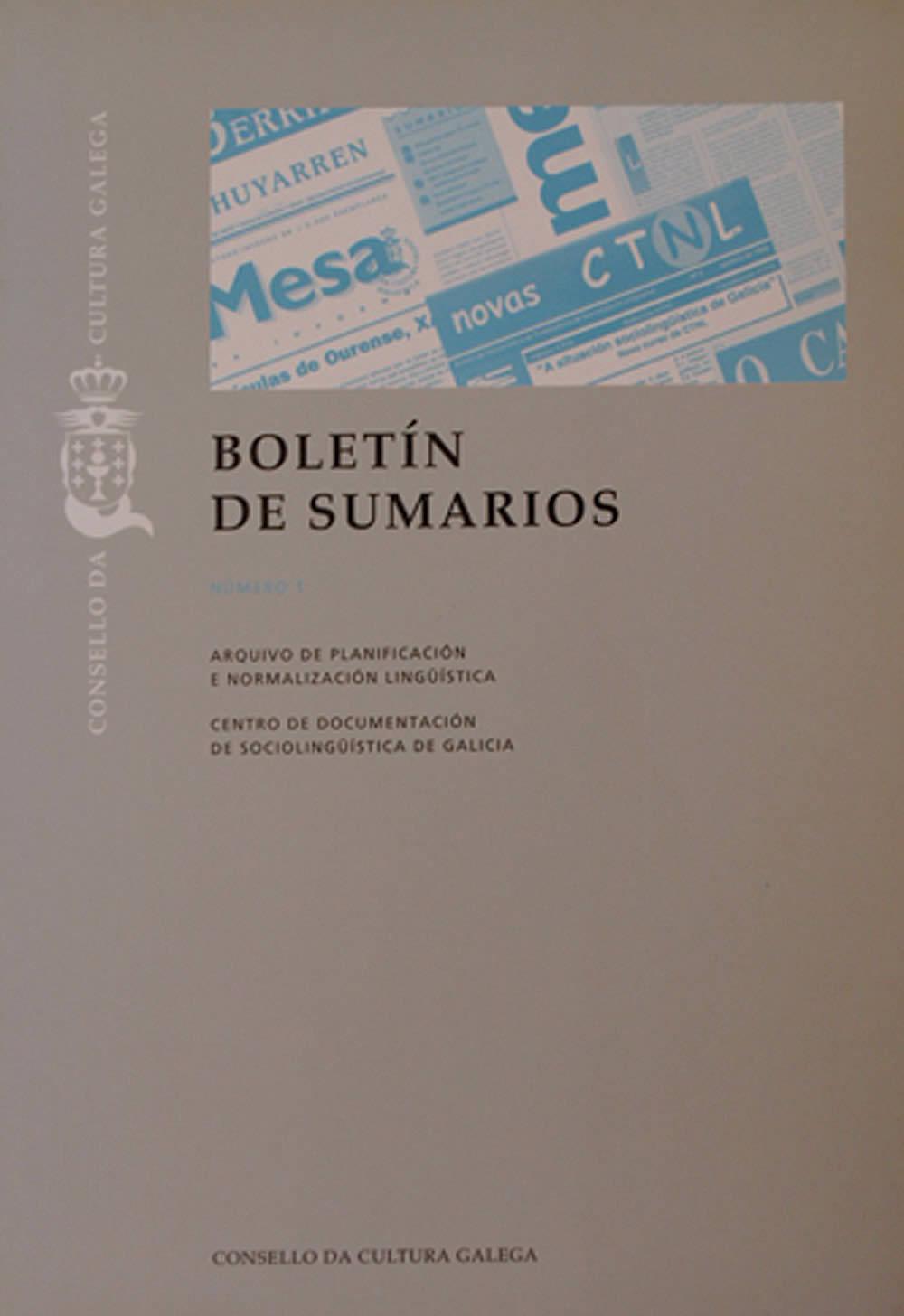 Portada de  Boletín de Sumarios N.º 1 (1999)