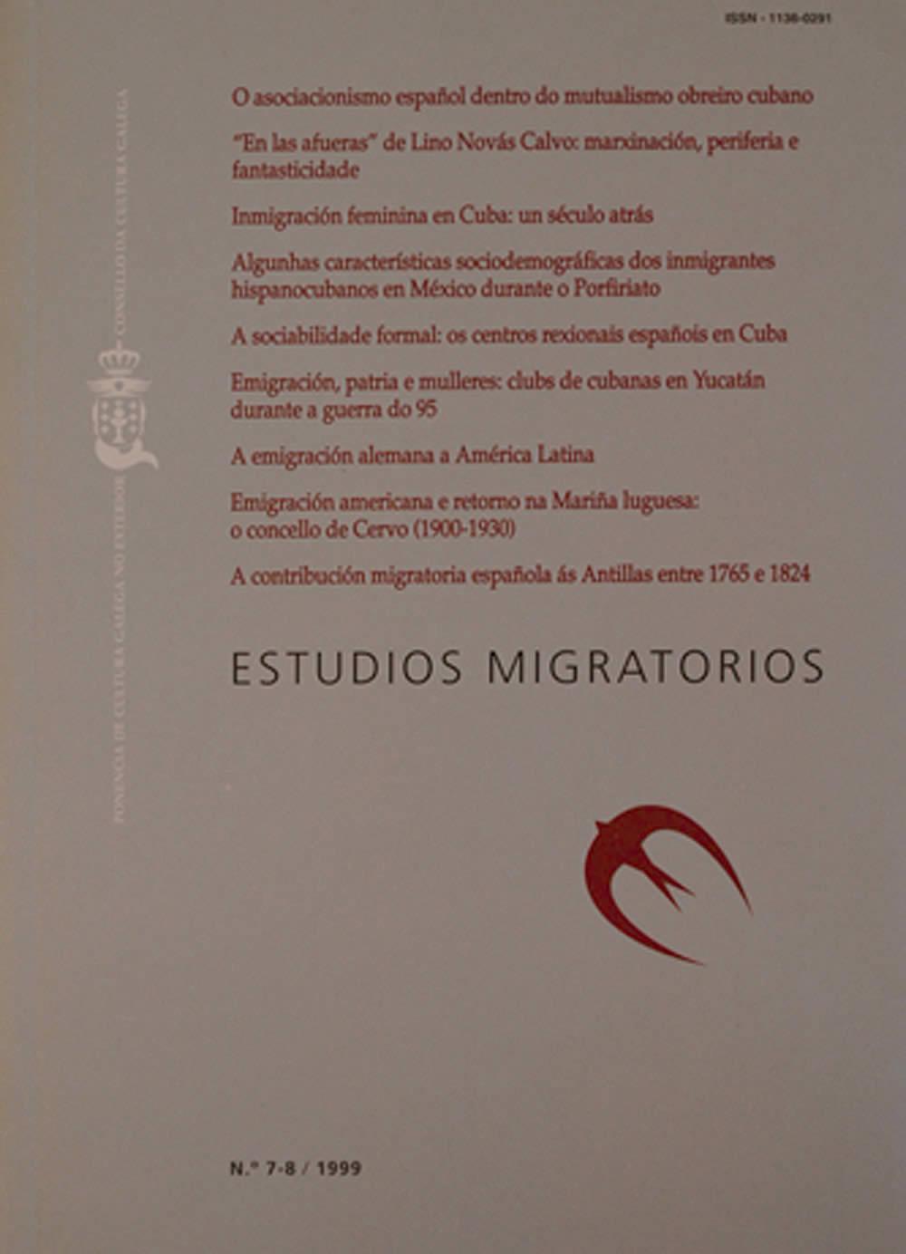 Portada de  Estudios Migratorios N.º 7 e 8 (1999)