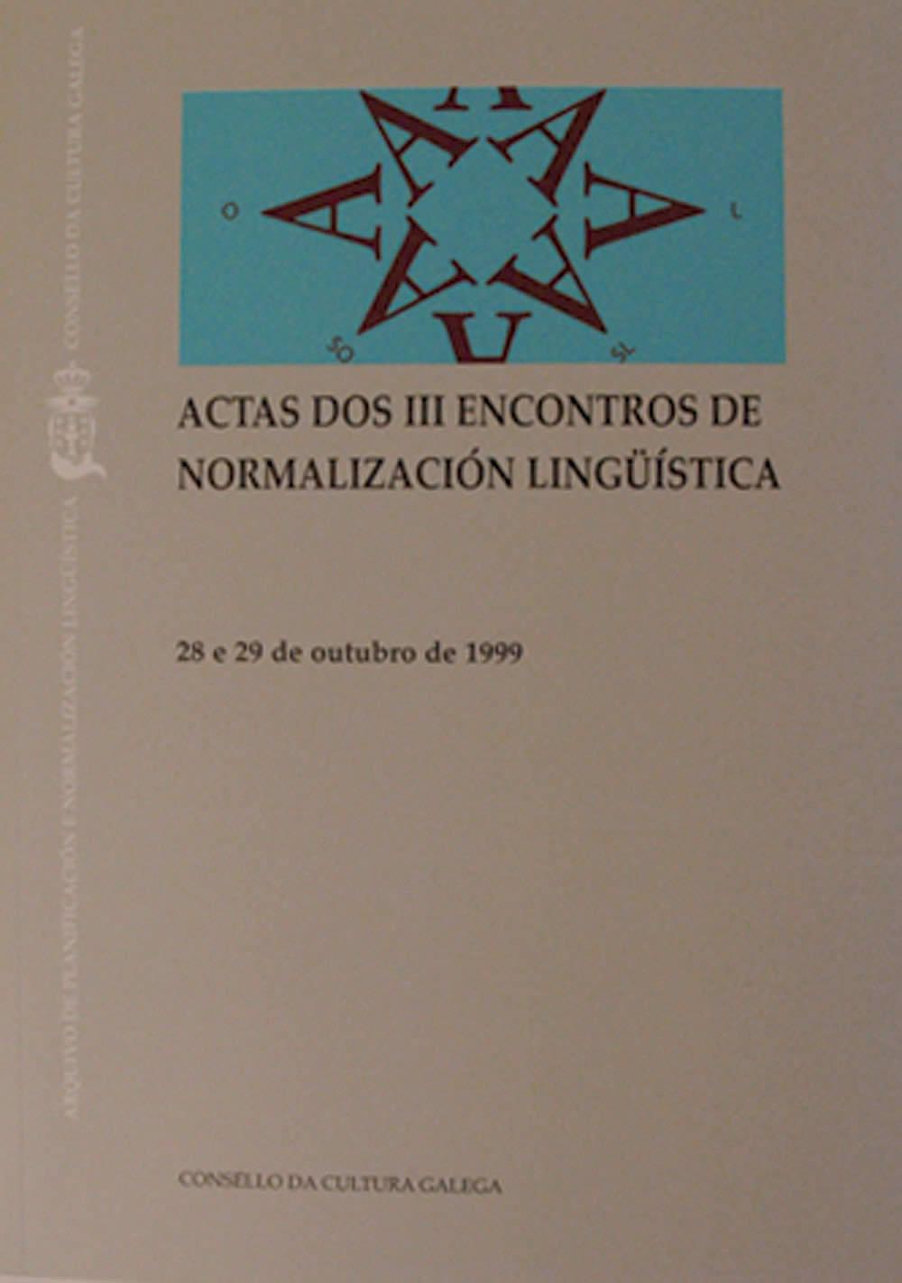 Portada de  Actas dos III Encontros para a Normalización Lingüística