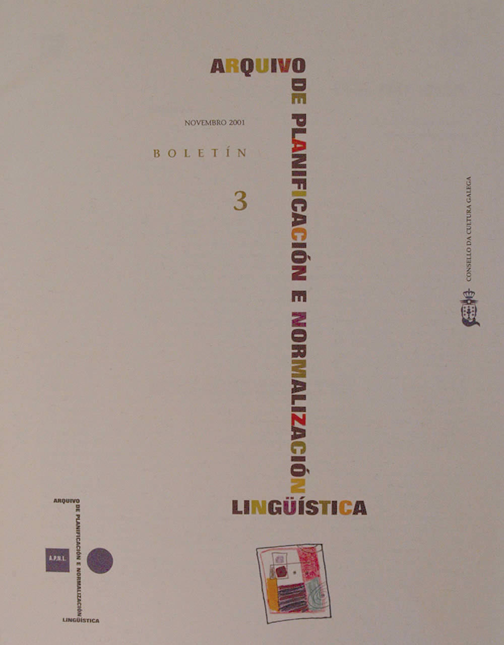 Portada de  Boletín do Arquivo de Planificación e Normalización Lingüística. N.º 3 (2001)