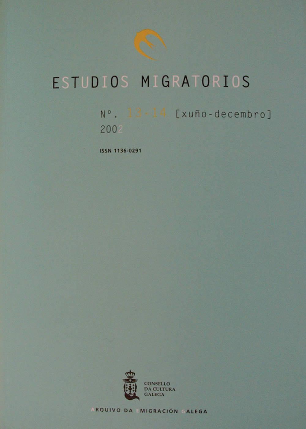 Portada de  Estudios Migratorios N.º 13-14 (xuño-decembro 2002)