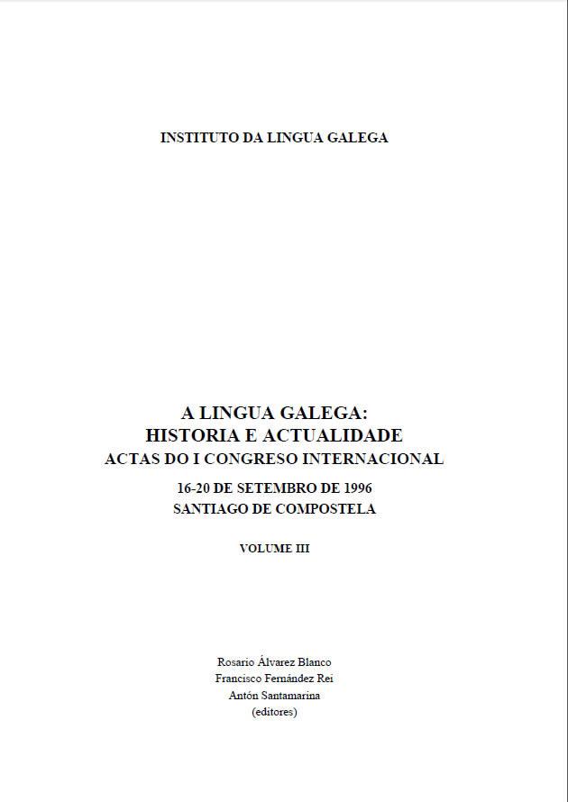 Portada de A lingua galega: historia e actualidade (v. III)