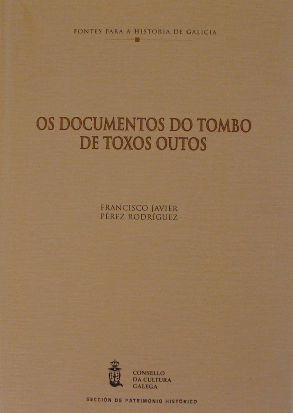Portada de Os documentos do Tombo de Toxos Outos