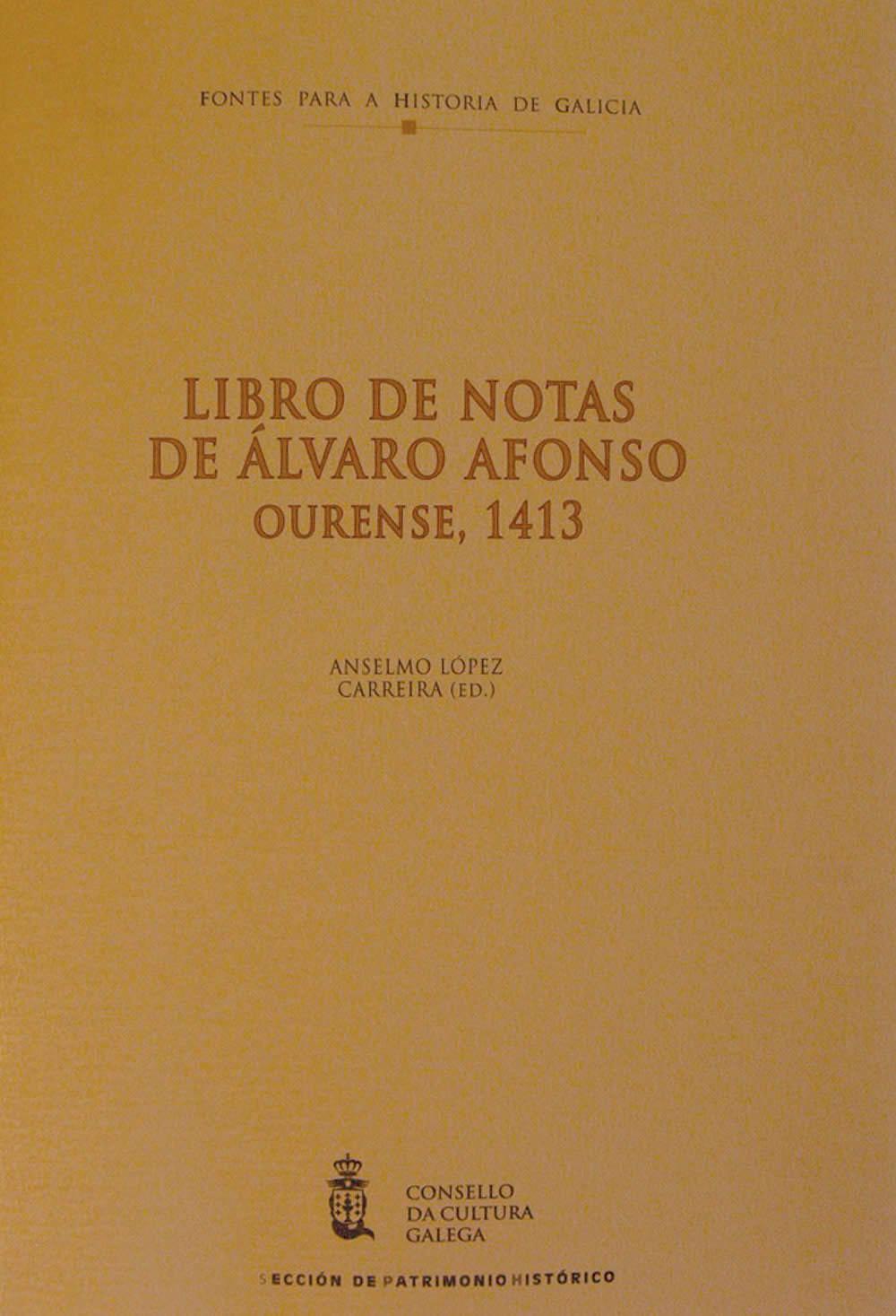 Portada de  Libro de notas de Álvaro Afonso