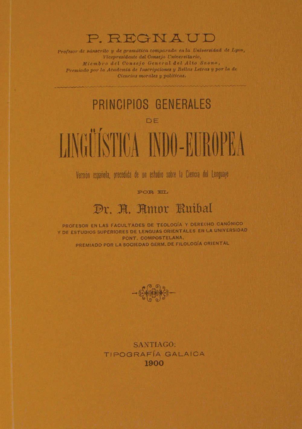 Portada de  Principios Generales de Lingüística indo-europea
