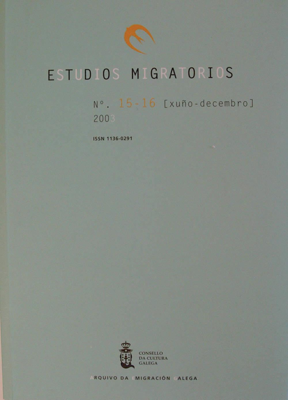 Portada de  Estudios Migratorios N.º 15-16 (xuño-decembro 2003)