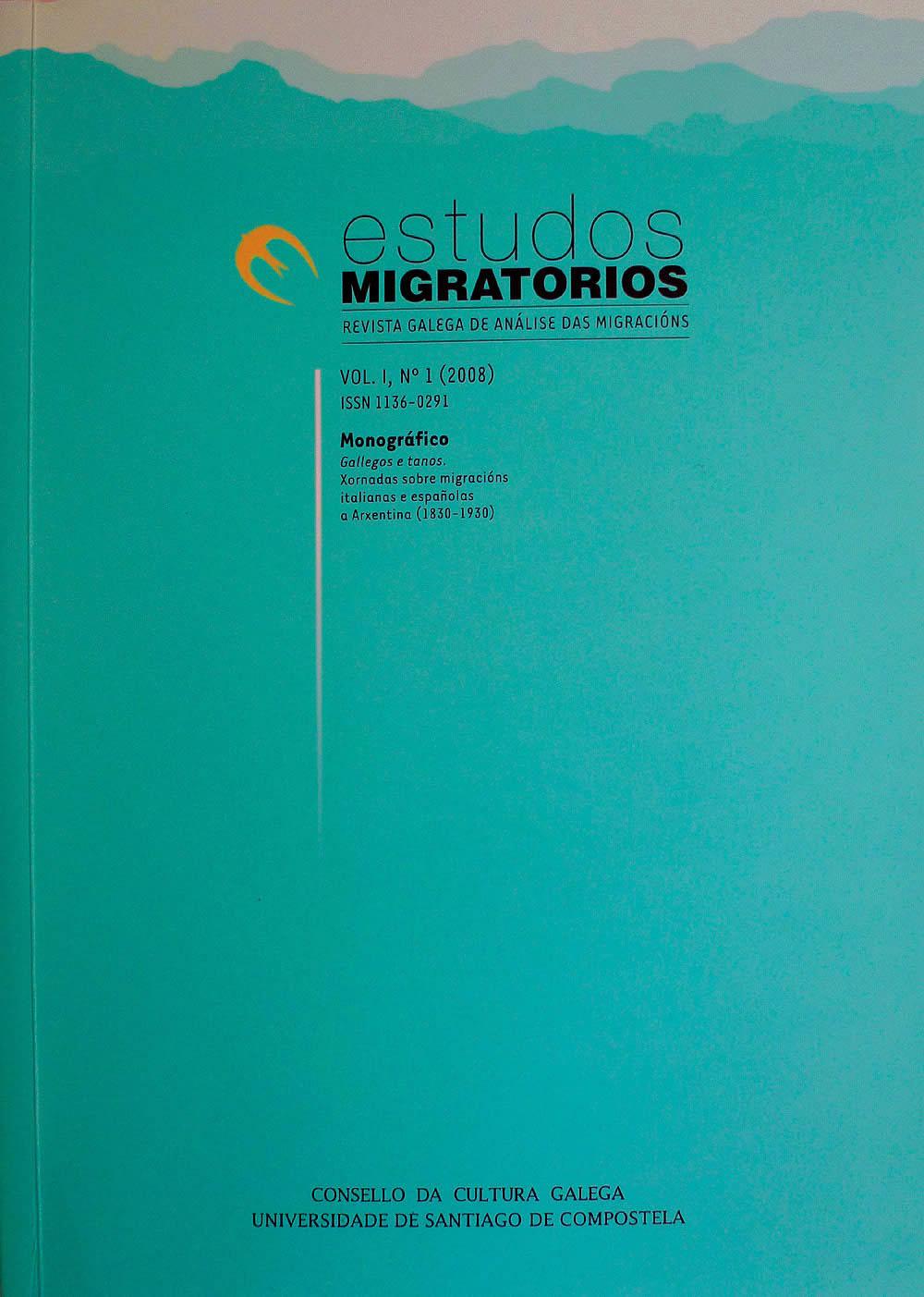 Portada de  Estudos Migratorios. Revista Galega de Análise das Migracións. V. I, N.º 1 (2008)