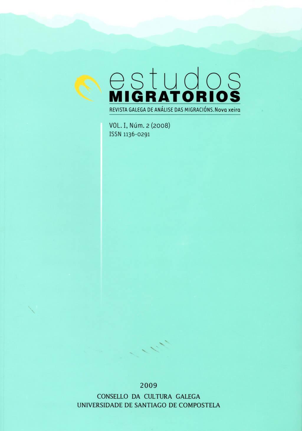 Portada de  Estudos Migratorios. Revista Galega de Análise das Migracións. V. I, N.º 2 (2008)
