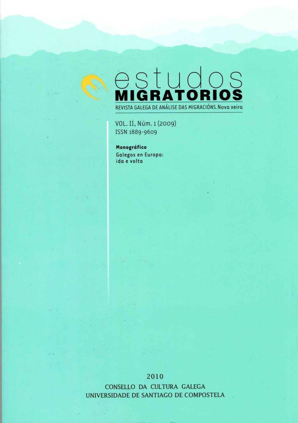 Portada de  Estudos Migratorios. Revista Galega de Análise das Migracións. V. II, N.º 1 (2009)
