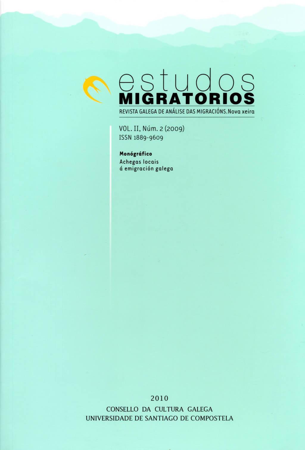 Portada de  Estudos Migratorios. Revista Galega de Análise das Migracións. V. II, N.º 2 (2009)