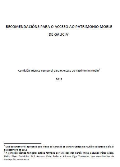 Portada de  Recomendacións para o acceso ao patrimonio moble de Galicia