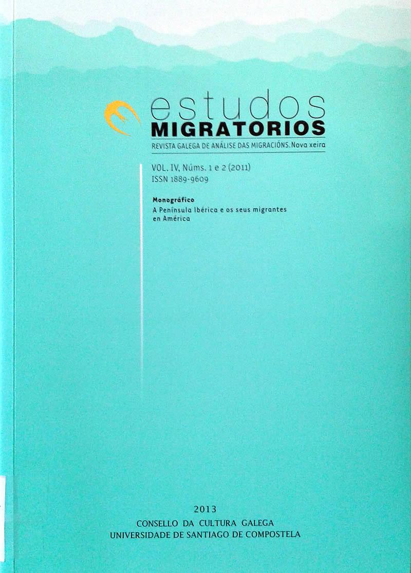 Portada de  Estudos Migratorios. Revista Galega de Análise das Migracións. V. IV, N.º 1 e 2 (2011)