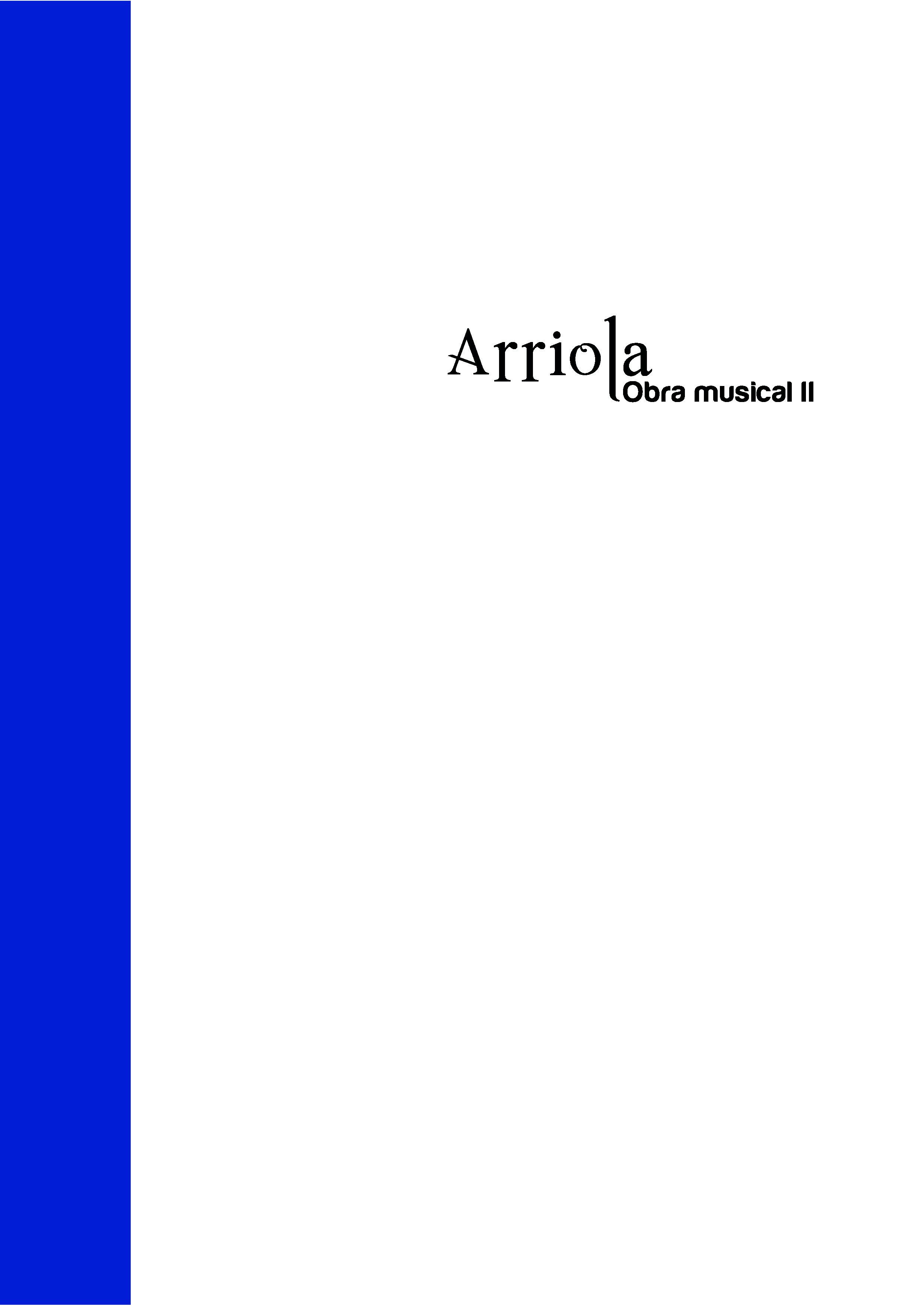 Portada de  Arriola. Obra musical II