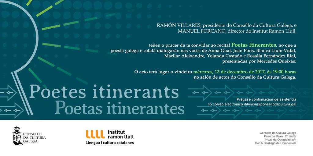 convite: Recital Poetas itinerantes en Santiago (gal)
