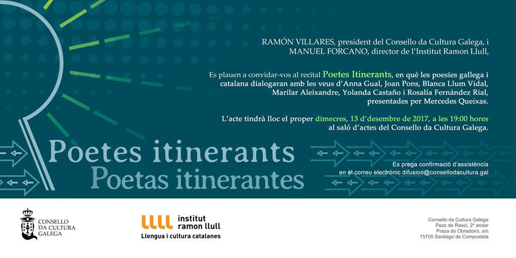 convite: Recital Poetes itinerants en Santiago (cat)
