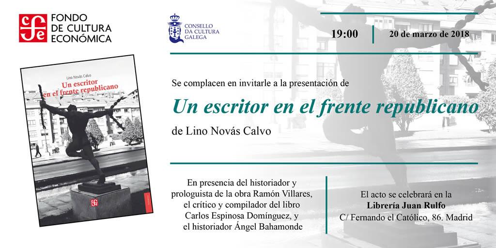 programa: Convite presentación libro de Lino Novás Calvo