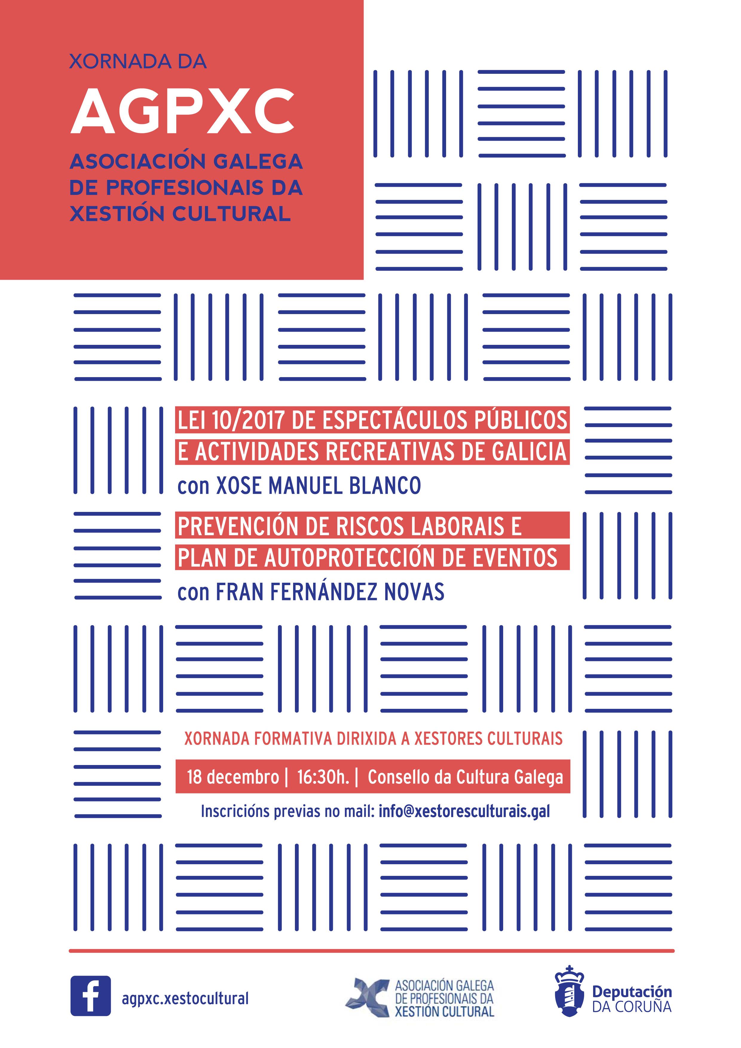 Cartaz: Xornada formativa da AGPXC sobre a lei de espectáculos de Galicia
