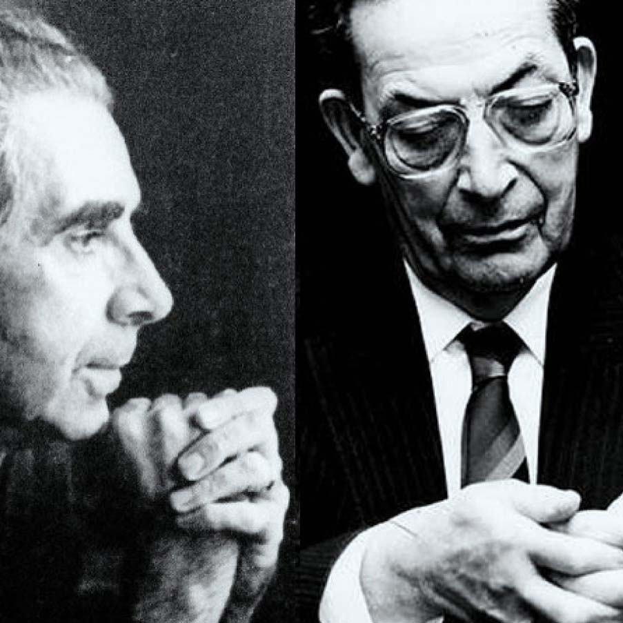 Ramón Piñeiro e Koldo Mitxelena no seu Centenario